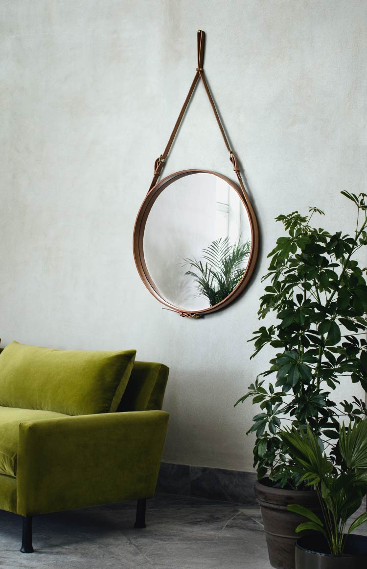 Gubi Adnet Circular mirror by Jacques Adnet