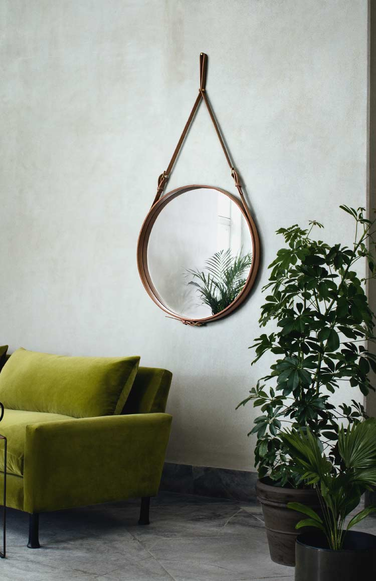 Gubi Adnet mirror by Jacques Adnet