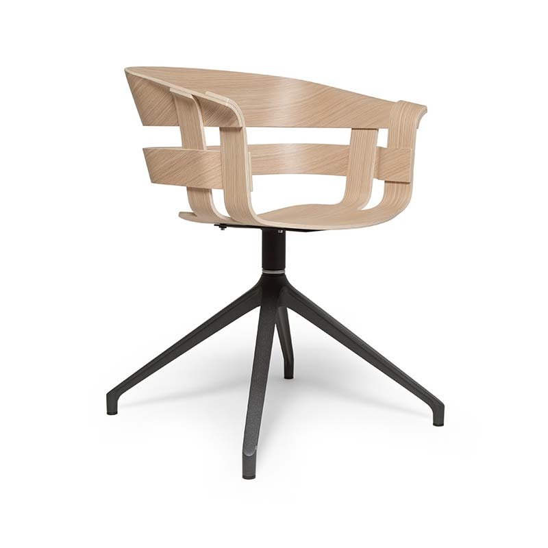 Design House Stockholm Wick Chair with Trestle Swivel Base by Karl Malmvall, Jesper Stahl