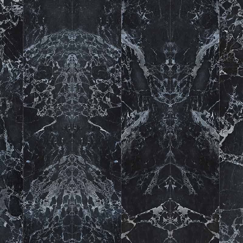 NLXL Black Marble No Joints Mirrored Wallpaper by Piet Hein Eek