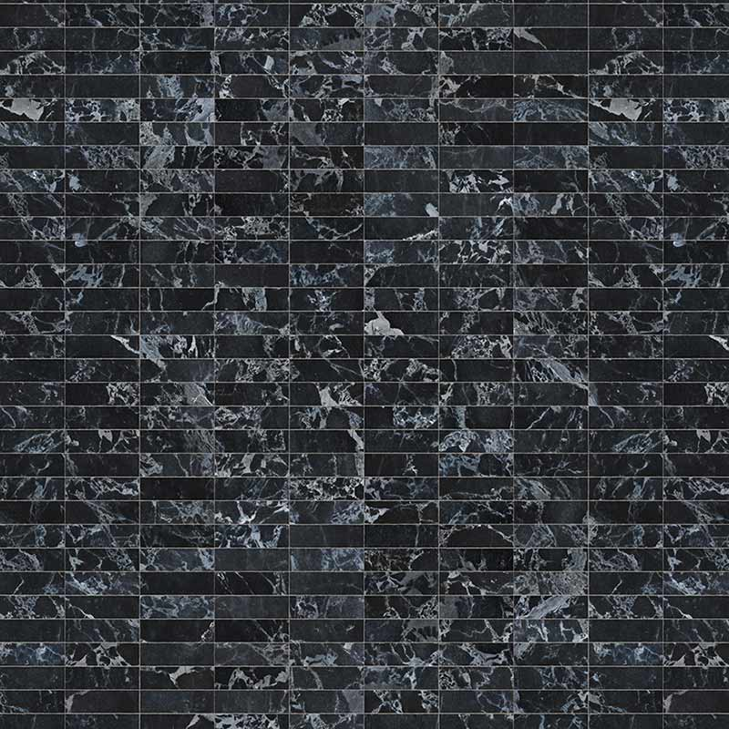NLXL Black Marble Tiles 24.4x7.7cm Wallpaper by Piet Hein Eek