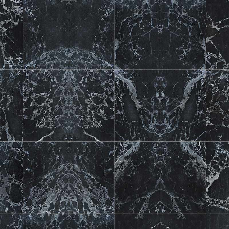 NLXL Black Marble Tiles 48.7x76.9cm Mirrored Wallpaper by Piet Hein Eek