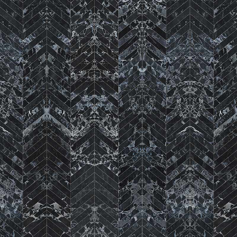 NLXL Black Marble Tiles 8.1x7.7cm Herringbone Wallpaper by Piet Hein Eek