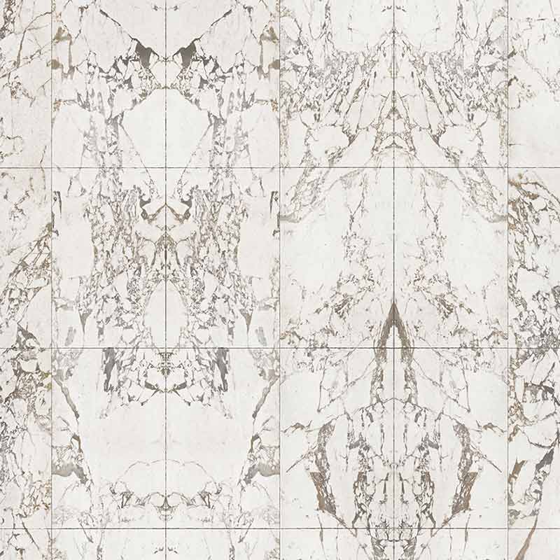 NLXL White Marble Tiles 48.7x76.9cm Mirrored Wallpaper by Piet Hein Eek