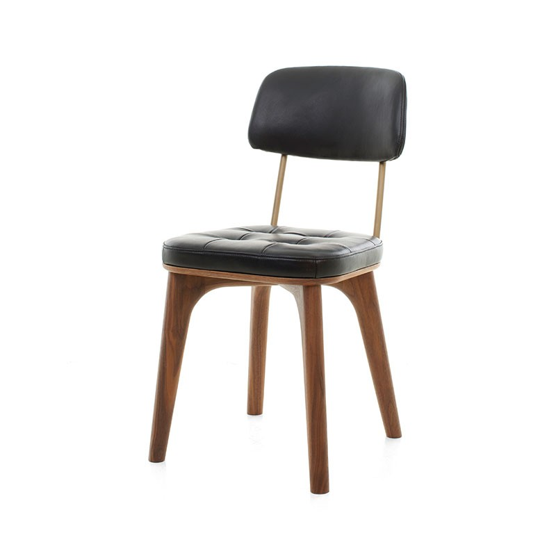 Stellar Works Utility Chair U in Black Caress Leather by Neri & Hu