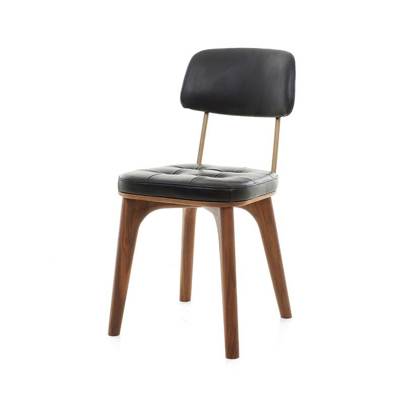 Stellar Works Utility Chair U in Black Caress Leather by Neri & Hu