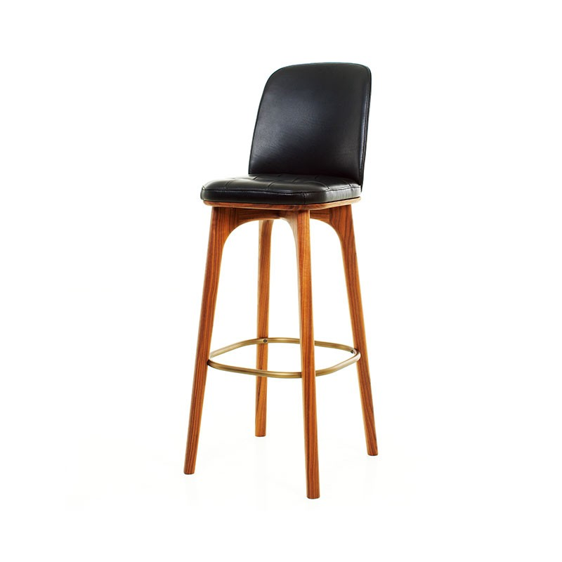 Stellar Works Utility High Bar Stool in Black Caress Leather by Neri & Hu