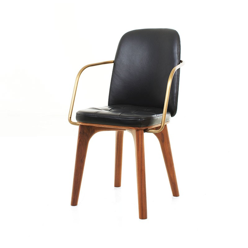 Stellar Works Utility Highback Armchair in Black Caress Leather by Neri & Hu
