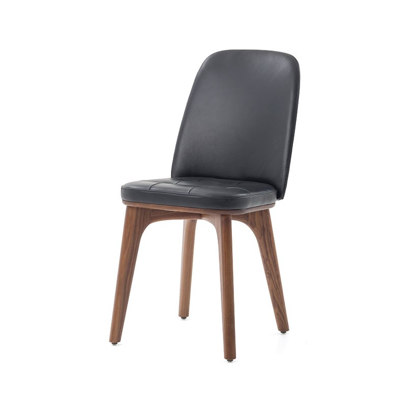 Stellar Works Utility Highback Chair In Walnut Ash U0026 Black Leather