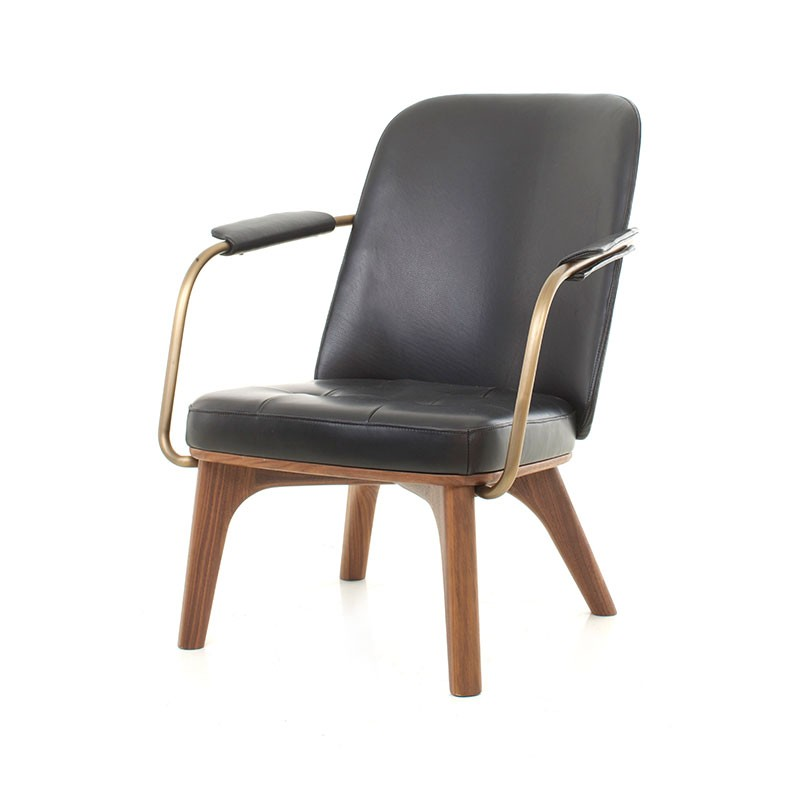 Stellar Works Utility Lounge Chair in Black Caress Leather by Neri & Hu