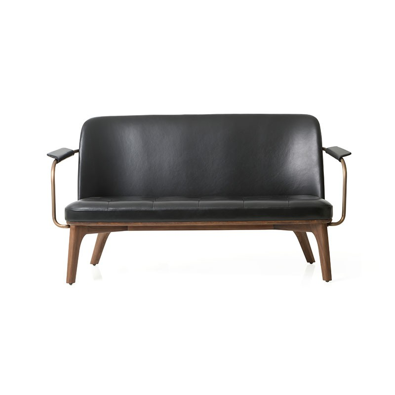 Stellar Works Utility Two Seat Sofa in Black Caress Leather by Neri & Hu