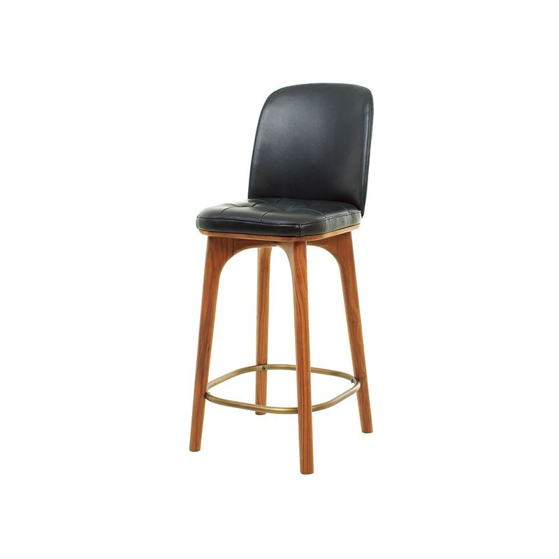Stellar Works Utility Low Bar Stool in Black Caress Leather by Neri & Hu