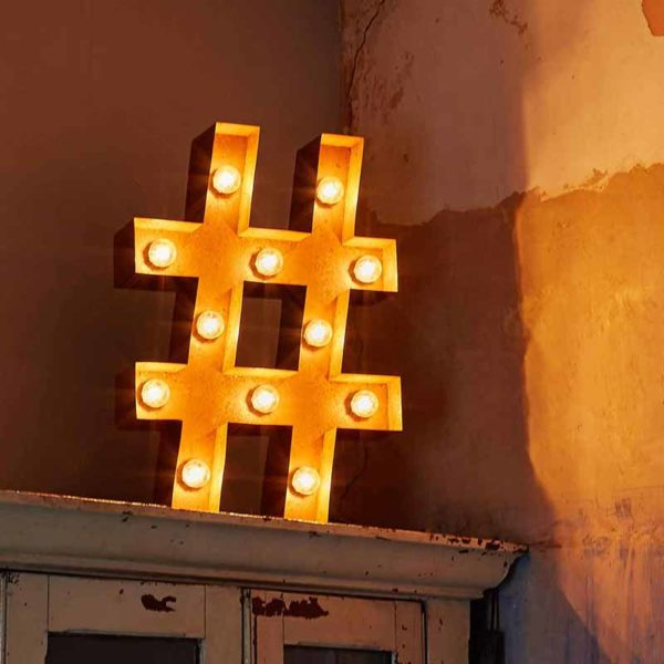 Vintage Letter Light Hashtag