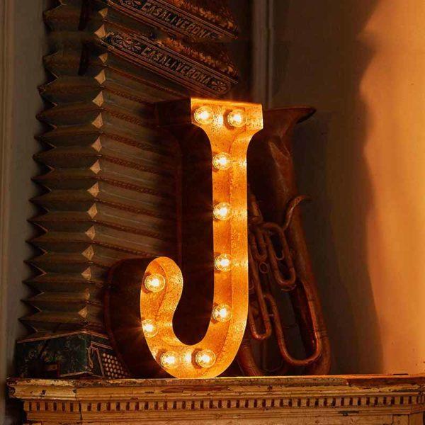 Vintage Letter Light J