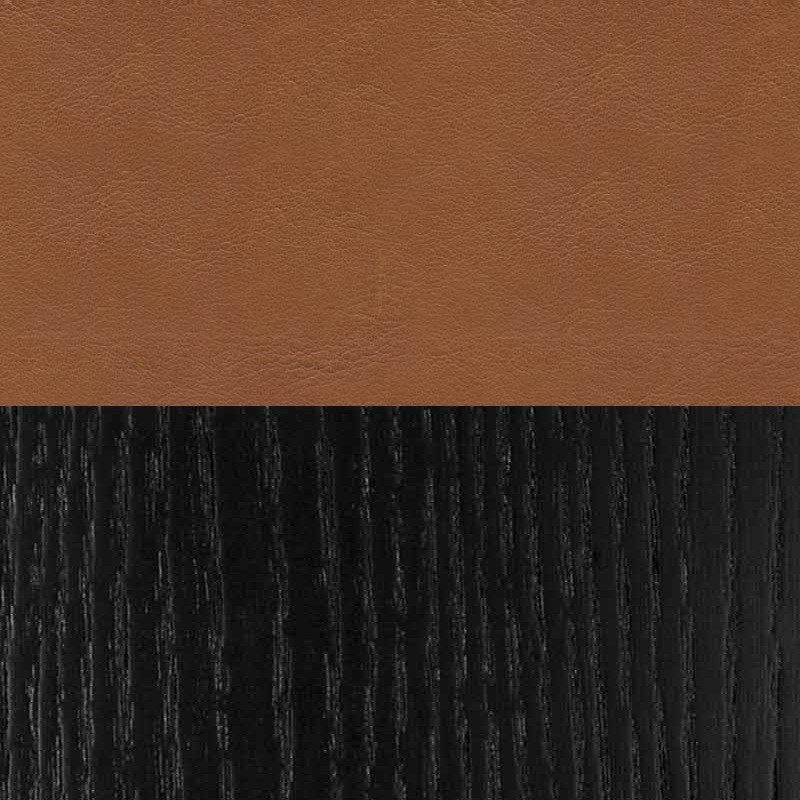 DHS - Black and cognac leather (100% Cow hide) swatch for Olson and Baker