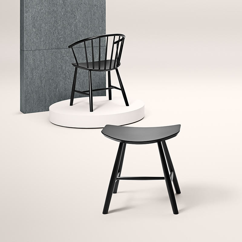 Fredericia J64 Chair in Black lacquered beech by Ejvind Johansson (2)