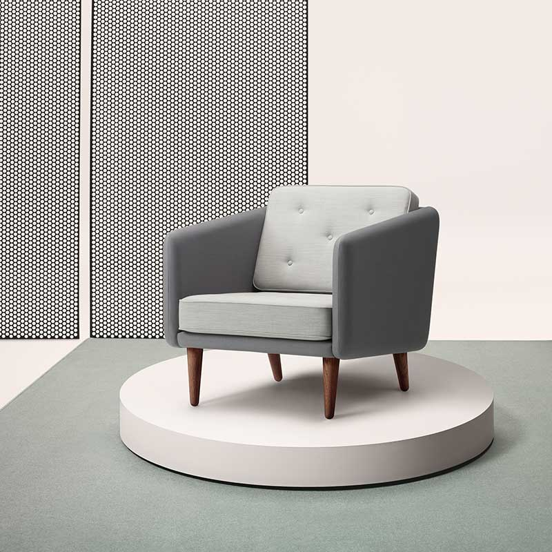 Fredericia No.1 Armchair in Note 60003 & 1102 Criss Cross by Borge Mogensen (2)