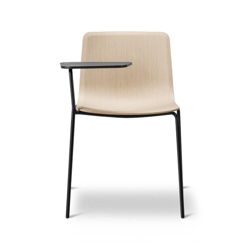 Fredericia Pato Veneer Chair with Writing Tablet by Gudmundur Ludvik, Hee Welling