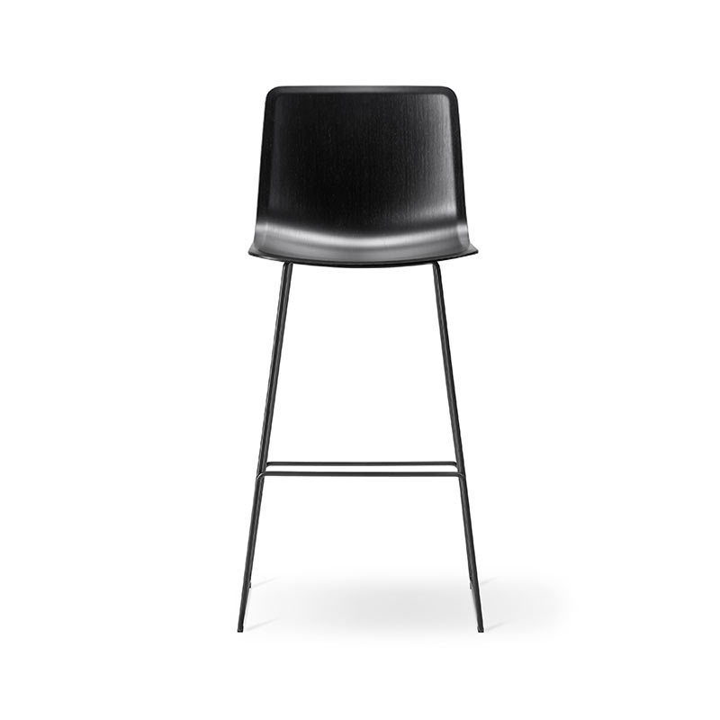 Fredericia Pato Veneer High Bar Stool with Four Legs by Gudmundur Ludvik, Hee Welling