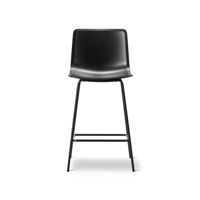 Fredericia Pato Veneer Low Bar Stool with Four Legs by Gudmundur Ludvik, Hee Welling