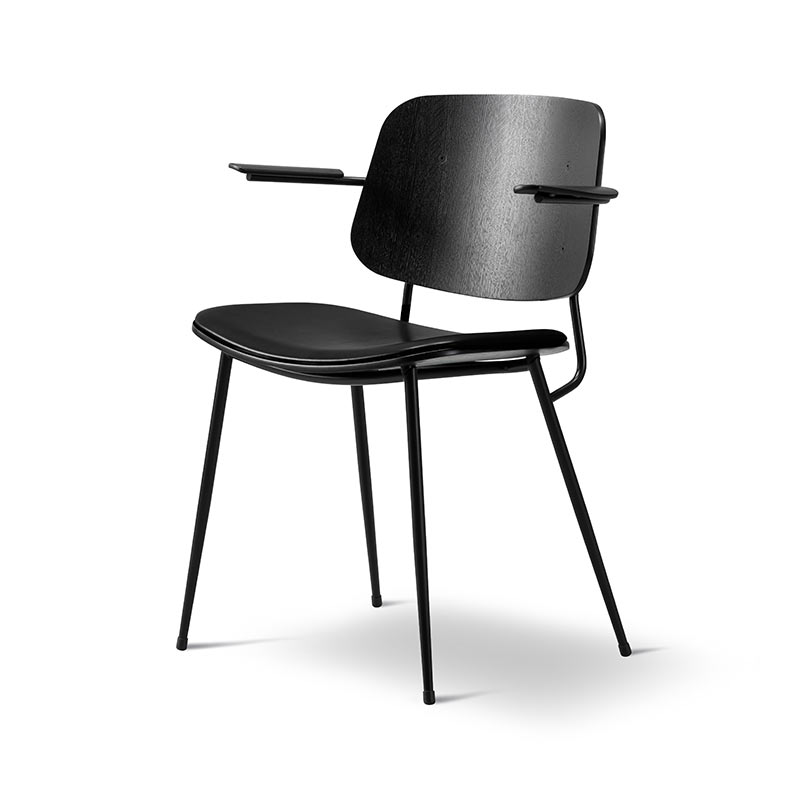 Fredericia Soborg Chair Armchair with Upholstered Seat in 88 Black semi aniline leather by Borge Mogensen (2)