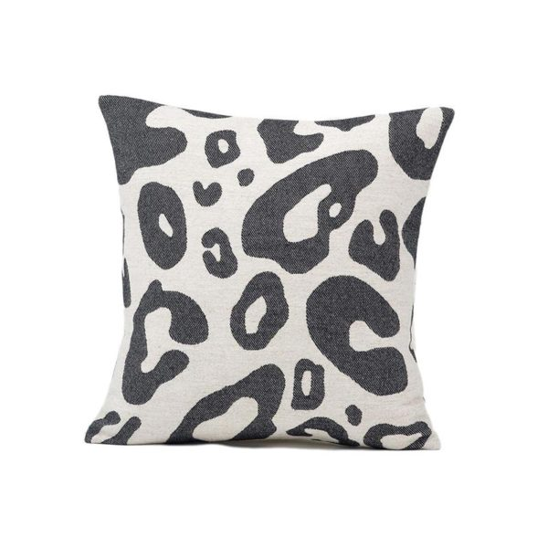 Hamilton Large Spot Cushion Black on Linen