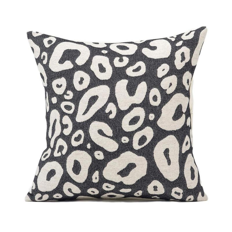 Tori Murphy Hamilton Large Spot Cushion Linen on Black by Tori Murphy