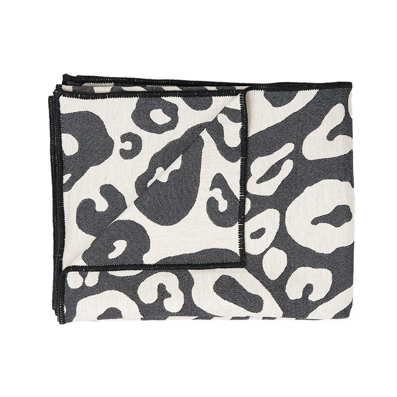 Tori Murphy Hamilton Large Spot Throw Linen And Black by Tori Murphy