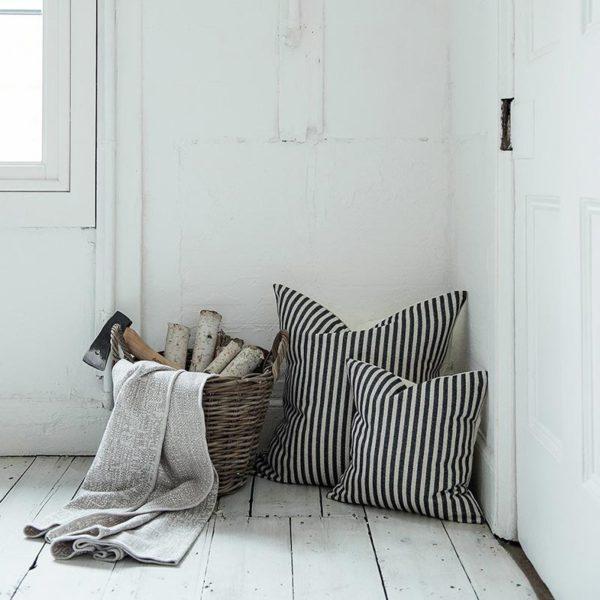 Harbour Stripe Cushion Graphite & Ecru
