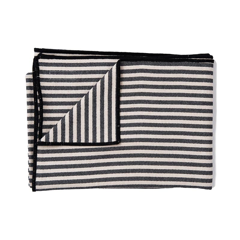 Tori Murphy Harbour Stripe Throw Graphite & Ecru by Tori Murphy
