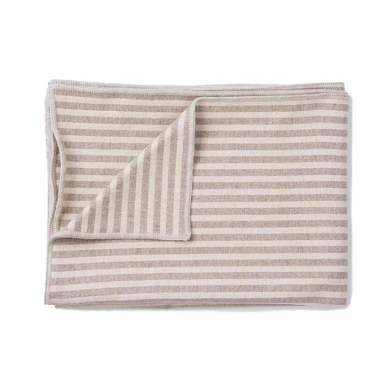 Tori Murphy Harbour Stripe Throw Mushroom & Ecru by Tori Murphy