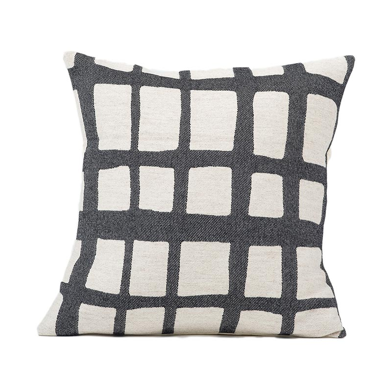 Tori Murphy Kensal Check Cushion Black on Linen by Tori Murphy