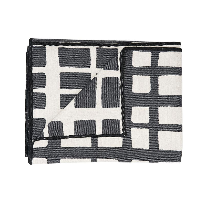 Tori Murphy Kensal Check Throw Black And Linen by Tori Murphy