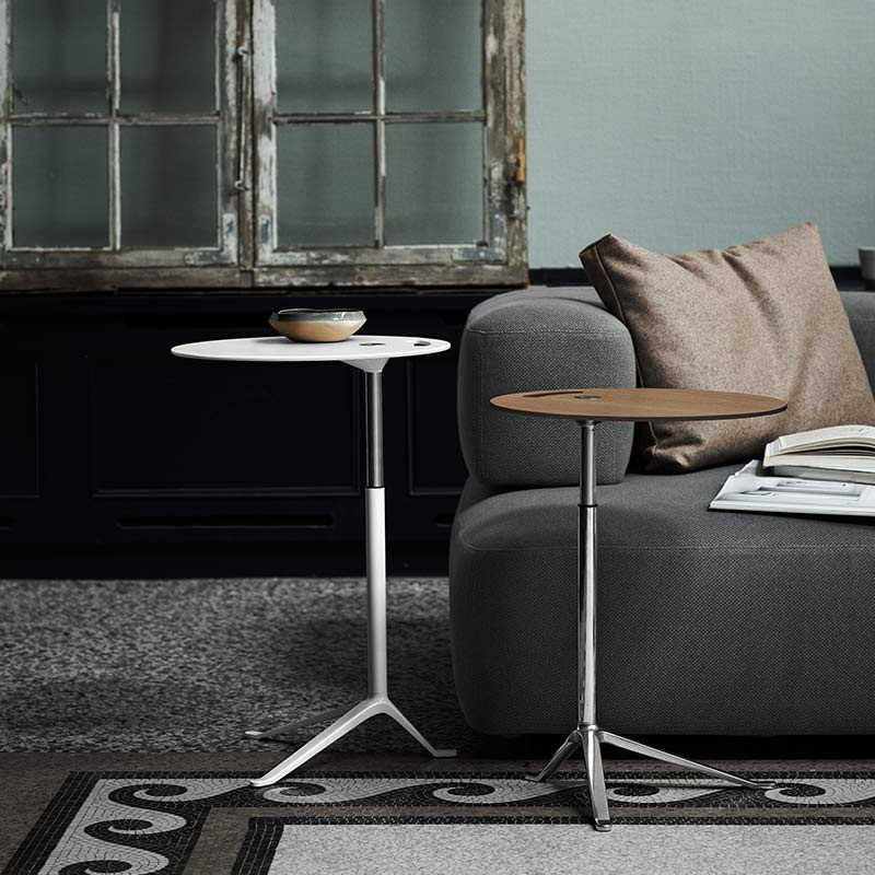 Fritz-Hansen-Little-Friend-Side-Table-with-Adjustable-Height-by-Kasper-Salto-1 Olson and Baker - Designer & Contemporary Sofas, Furniture - Olson and Baker showcases original designs from authentic, designer brands. Buy contemporary furniture, lighting, storage, sofas & chairs at Olson + Baker.