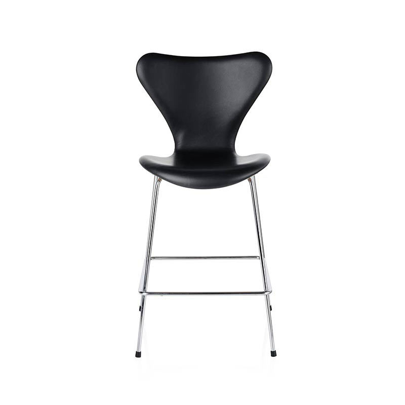 Fritz Hansen Series 7 Fully Upholstered Low Bar Stool by Arne Jacobsen