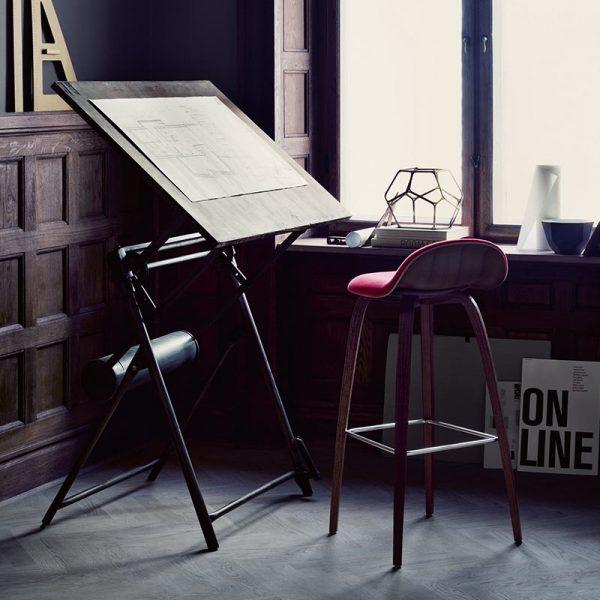 3D Front Upholstered High Bar Stool