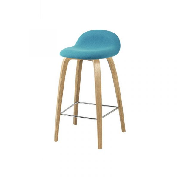 Gubi 3D Front Upholstered Low Bar Stool by Komplot Design