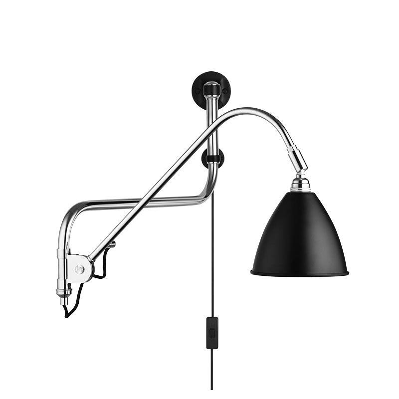 Gubi Bestlite BL10 Wall Lamp in Chrome and Charcoal Black by Robert Dudley Best