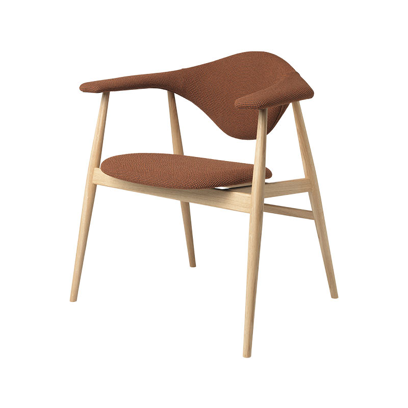 Gubi Masculo Dining Chair with Wooden Base by GamFratesi