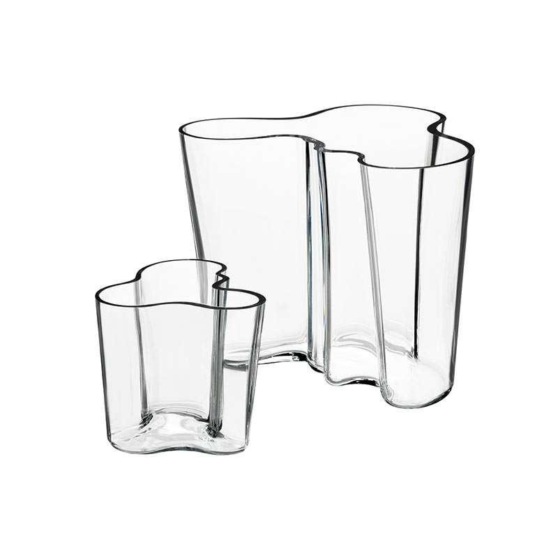 Iittala Aalto Vase Gift Set Clear 95mm & 160mm by Alvar Aalto