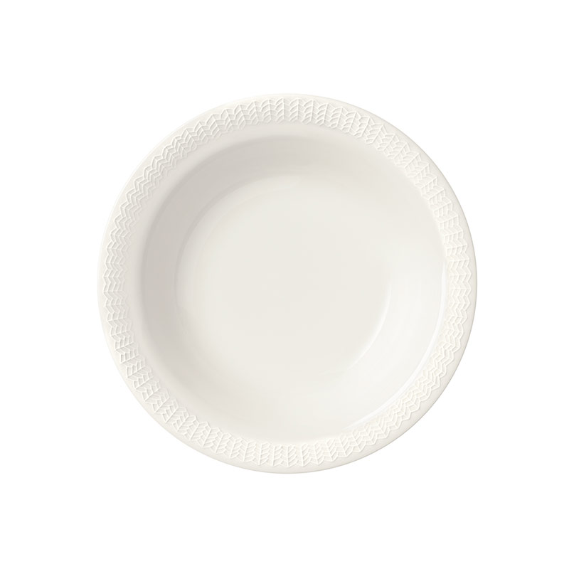 Iittala Sarjaton Pearl White 22cm Letti Deep Plate - Set of Six by Harri Koskinen, Musuta