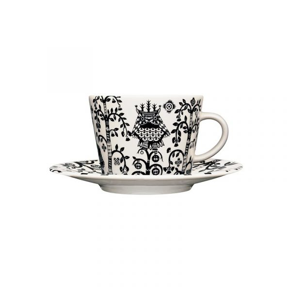 Iittala Taika Black Cappuccino Cup 0.2L & Saucer – Set of Two by Klaus Haapaniemi