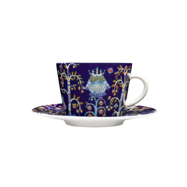 Iittala Taika Blue Cappuccino Cup 0.2L & Saucer – Set of Two by Klaus Haapaniemi