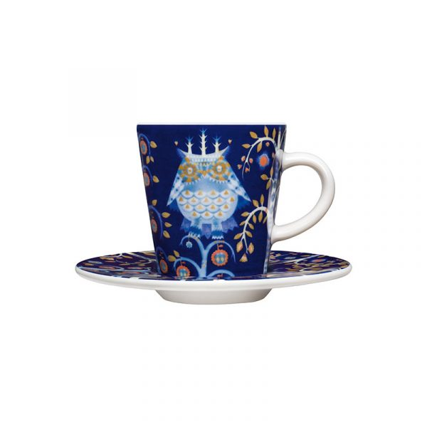 Iittala Taika Blue Espresso Cup 0.1L & Saucer – Set of Two by Klaus Haapaniemi