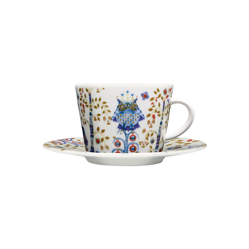 Iittala Taika White Cappuccino Cup 0.2L & Saucer – Set of Two by Klaus Haapaniemi