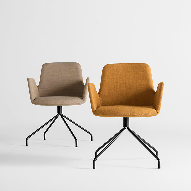 Inclass-Altea-Armchair-with-Trestle-Swivel-Base-by-Jorge-Pensi-1 Olson and Baker - Designer & Contemporary Sofas, Furniture - Olson and Baker showcases original designs from authentic, designer brands. Buy contemporary furniture, lighting, storage, sofas & chairs at Olson + Baker.