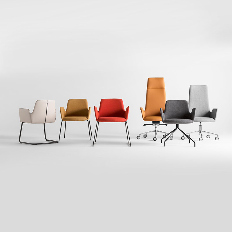 Inclass-Altea-Armchair-with-Trestle-Swivel-Base-by-Jorge-Pensi-2 Olson and Baker - Designer & Contemporary Sofas, Furniture - Olson and Baker showcases original designs from authentic, designer brands. Buy contemporary furniture, lighting, storage, sofas & chairs at Olson + Baker.