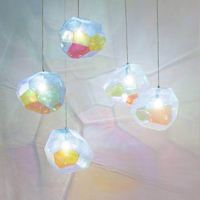 Innermost Asteroid Petrol Glass Pendant Light by Koray Ozgen
