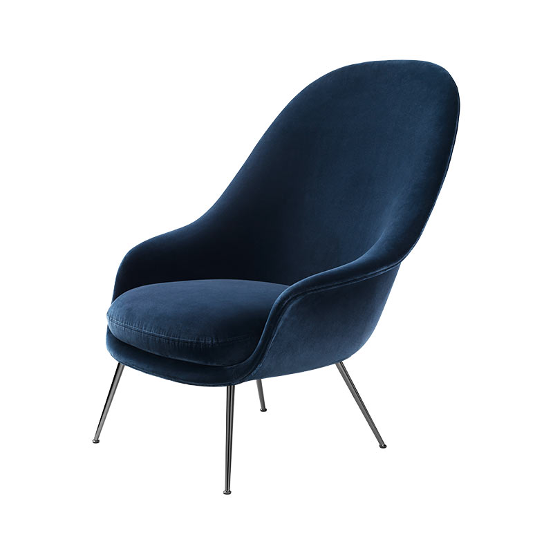 Gubi Bat Fully Upholstered Lounge Chair with Black Legs - High Back by Gubi & Gam Fratesi 2
