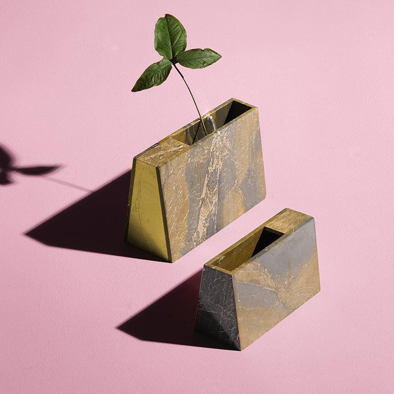 Alex Mint Barricade Marble Vase Life Shot